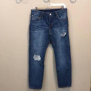 Levi's boyfriend cut 501 distressed jeans